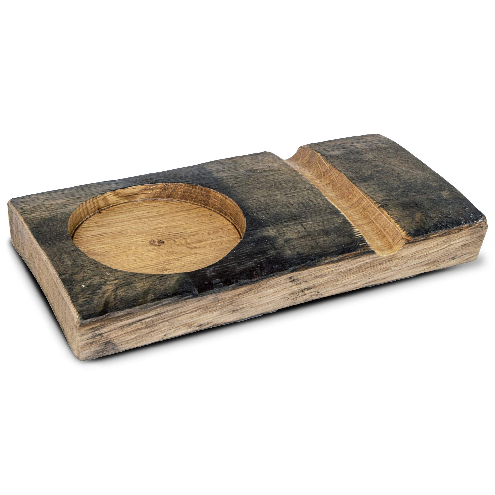 Handcrafted Rustic Wooden Whiskey Glass and Cigar Holder Tray Gift Set with Carved Wood Board and Highball Glass by BRIAR AND OAK WWW.BRIARANDOAK.COM (Image #4)