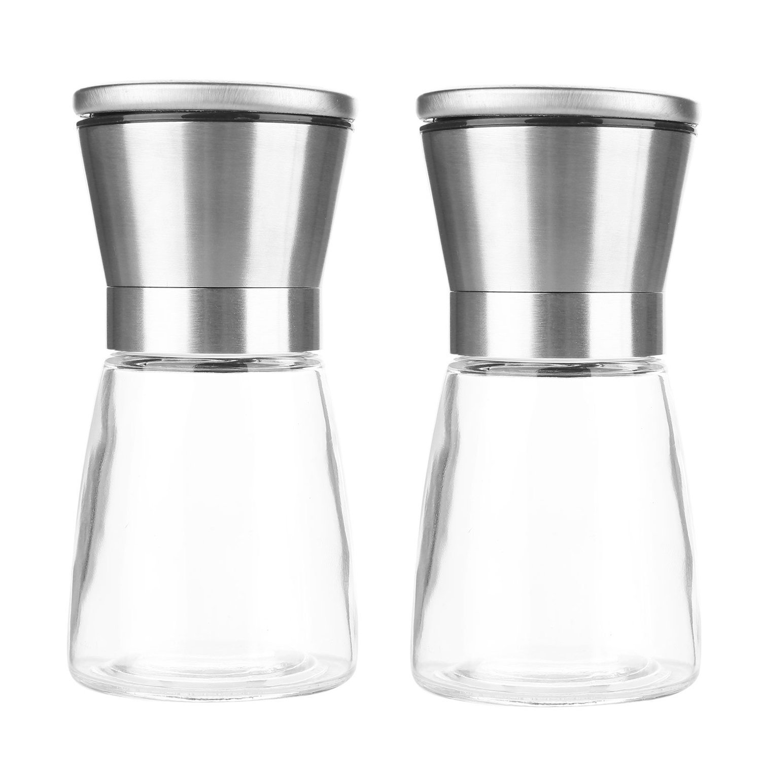 Etrech Manual Salt and Pepper Shakers Grinders Glass Bottle, Adjustable Coarseness, Made of 304 Stianless Steel, Lead-free Glass (2 Pack) by Eva