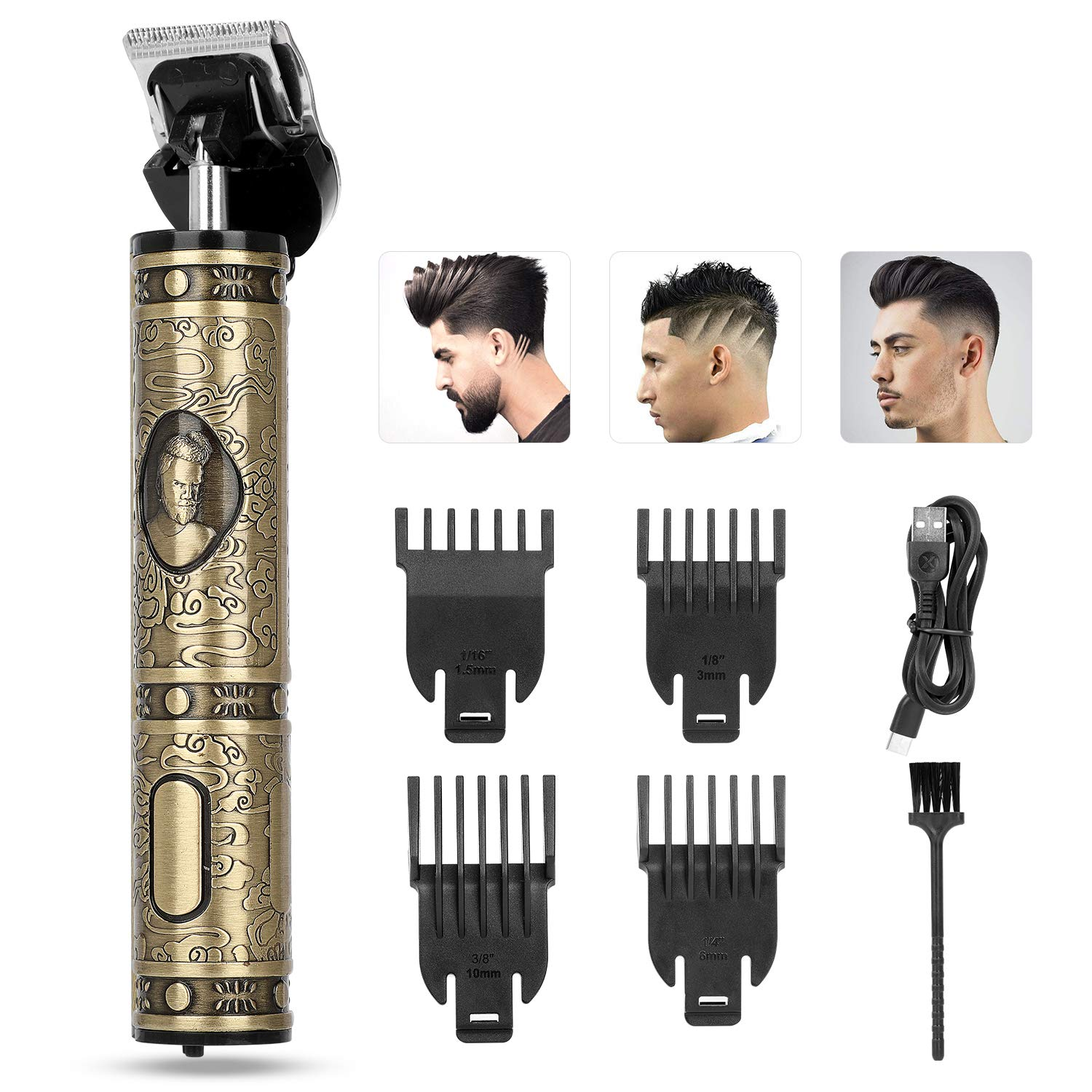 Electric Hair Clippers For Men, Hair Trimmer For Men, Clippers For Hair Cutting Kit, YESMET Cordless Zero Gapped Trimmer Hair Clipper With T Blade Trimmer 4 Guide Combs For Barber Bald Head (a bronze)