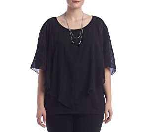 AGB Plus Size Textured Overlay Top 2X