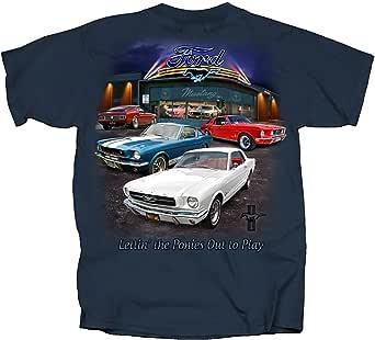 Mustang Cotton Ford T-Shirt Harbor Blue Adult Men's Women's Short Sleeve T-Shirt