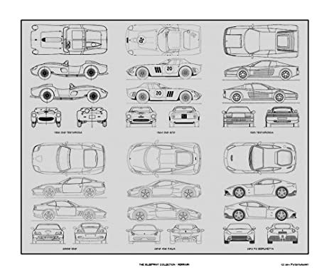 Amazon ferrari blueprint collection print car art gift 20x24 ferrari blueprint collection print car art gift 20x24 malvernweather Choice Image