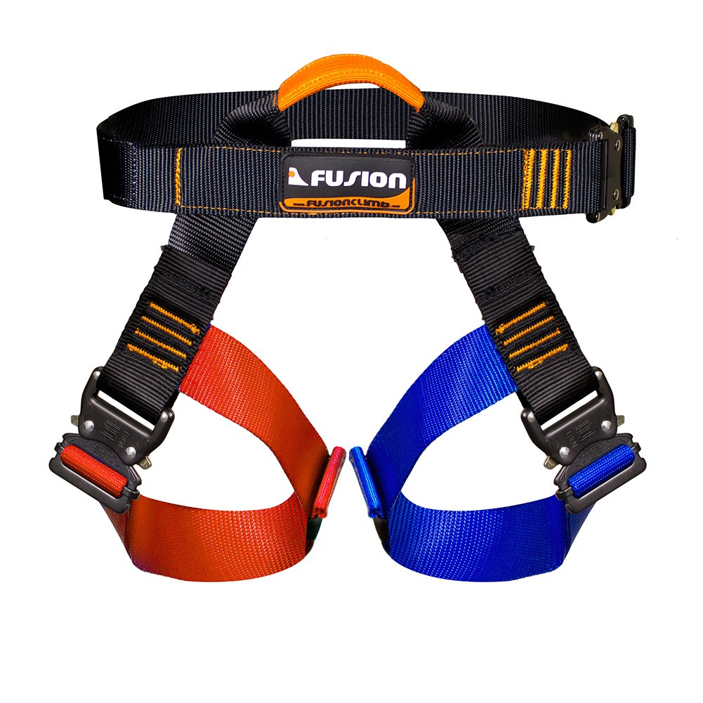 Fusion Climb Concerto Color Coded Half Body Harness Black M-XL Quick Release Buckles Climbing Gym