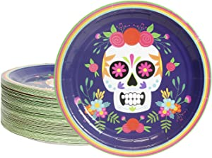 Day of the Dead Party Supplies Dia De Los Muertos Skull Plates (9 In, 80 Pack)