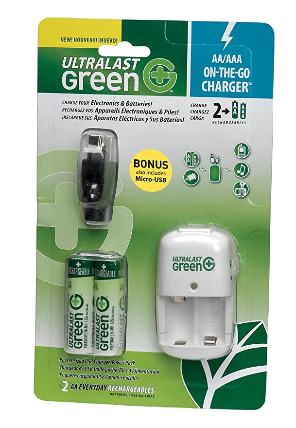 UltraLast Green 2AA/AAA/USB On-the-Go Charger with 2 AA Everyday Precharged Batteries