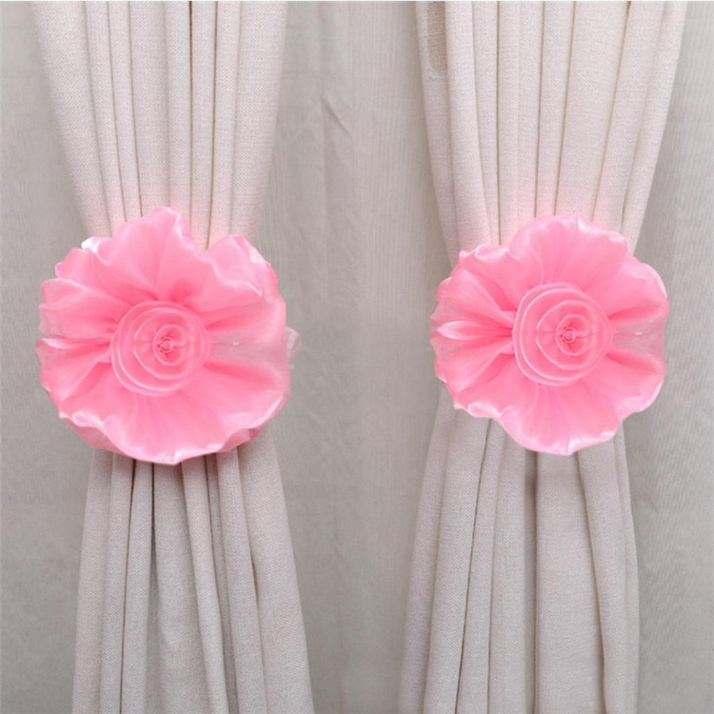 Curtain Tie,Clip-On Flower Tie Backs,Holdbacks For Voile & Net Curtain Panels,Tuscom (Pink)