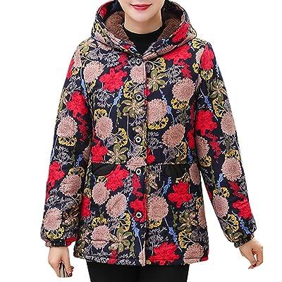 Sttech1 Overcoat for Older Women, Flower Printed Long Sleeves Hooded Winter Warm Oversized Jackets Coat: Clothing