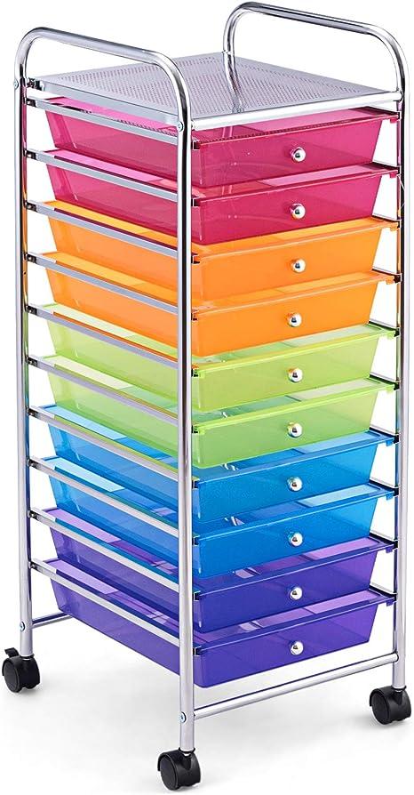Farbig Beistellwagen Haushaltswagen Rollcontainer Badrollwagen Badtrolley Badregal Rollregal Farbewahl GOPLUS Rollwagen mit 10 Schubladen