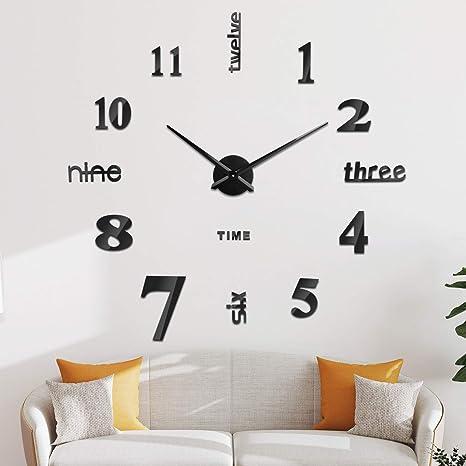 Amazon Com Soledi Frameless Clock Large 3d Diy Wall Clocks For Living Room Bedroom Office Decoration Home Kitchen