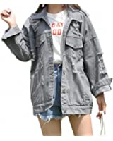 Streetwear Hole Ripped Denim Jacket For Women Vintage Washed Jaqueta Jeans Feminino Casual Loose Chaqueta Mujer