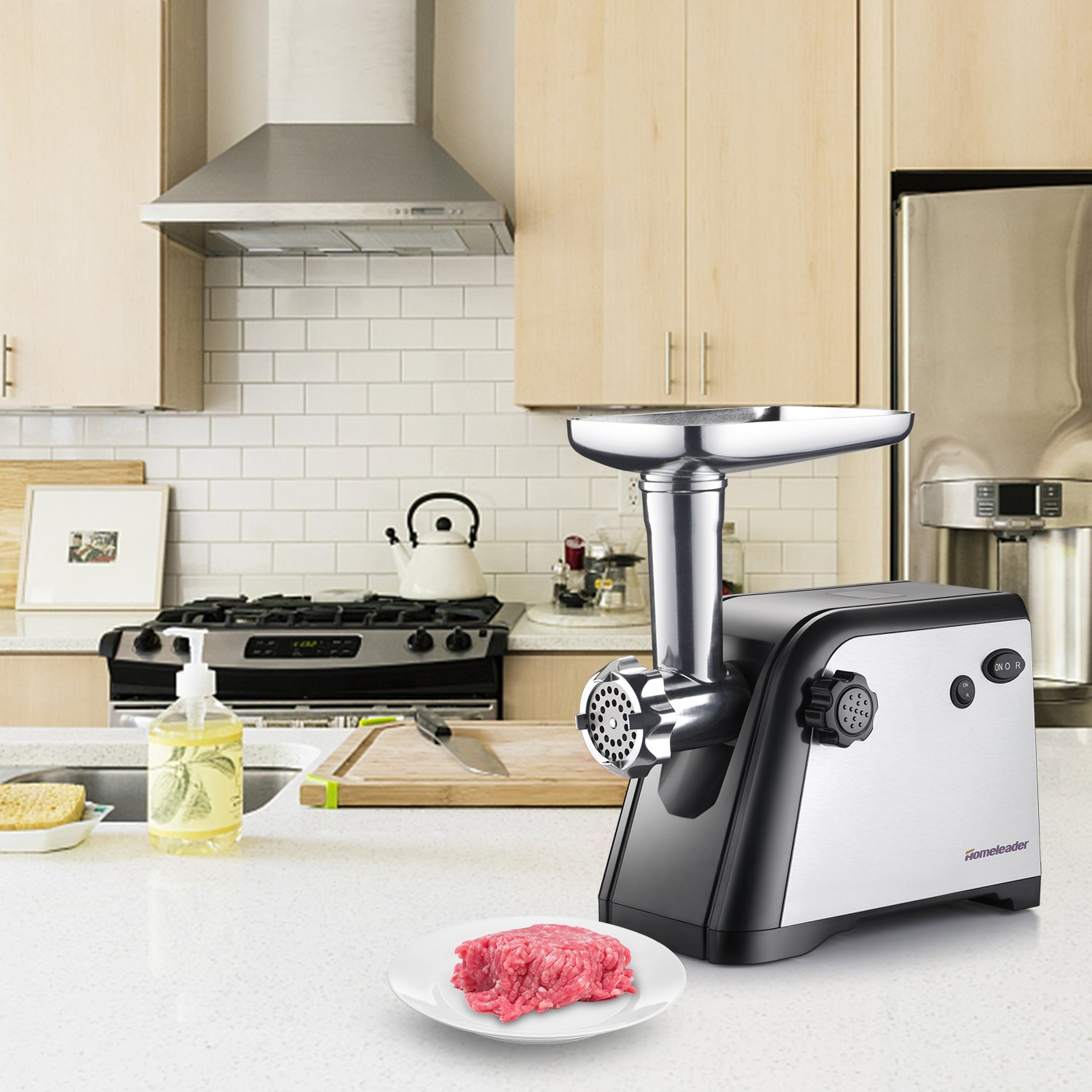 Blade /& Kubbe Attachment 800W ETL Approved with 3 Cutting Plates Homeleader Stainless Steel Meat Mincer /& Sausage Stuffer Sausage Making Kit Electric Meat Grinder