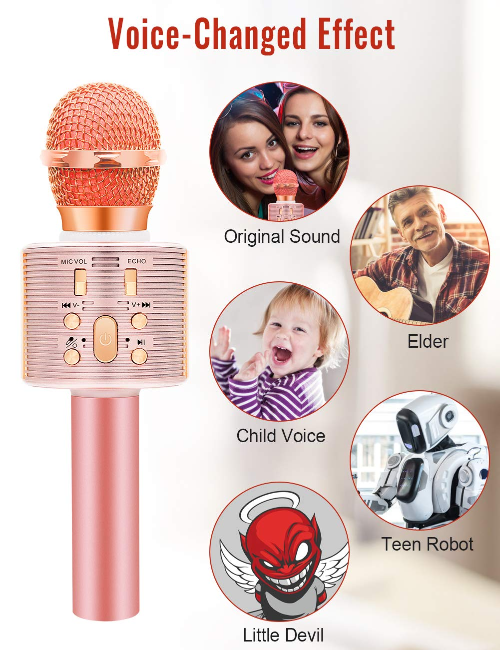 Wireless Karaoke Microphone with Speaker Pro, 3-in-1 Portable Handheld Karaoke Mic Home Party Birthday Gifts for Kids Speaker Machine for Android/ PC /phone(Rose Gold) by weird tails (Image #3)