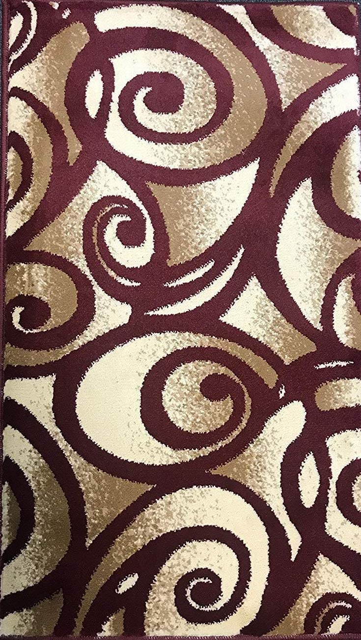 Modern Door Mat Area Rug Burgundy Swirl Bellagio Design 341 2ft.x3ft4in.