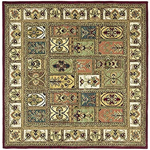 Safavieh Classic Collection CL386A Handmade Traditional Oriental Multicolored Panels Wool Square Area Rug (6' - Multi Persian Panel