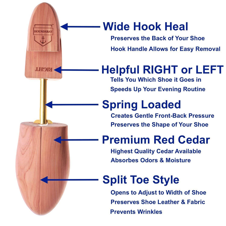 HOUNDSBAY Men's Cedar Shoe Tree with Wide Heel and Adjustable Split Toe 1 Pair
