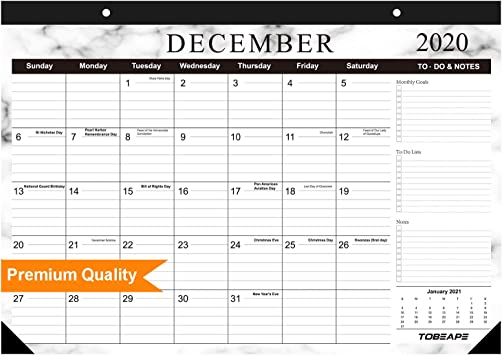 Tobeape® 2020 2021 Desk Calendar, Large Monthly Pages 17 x 12