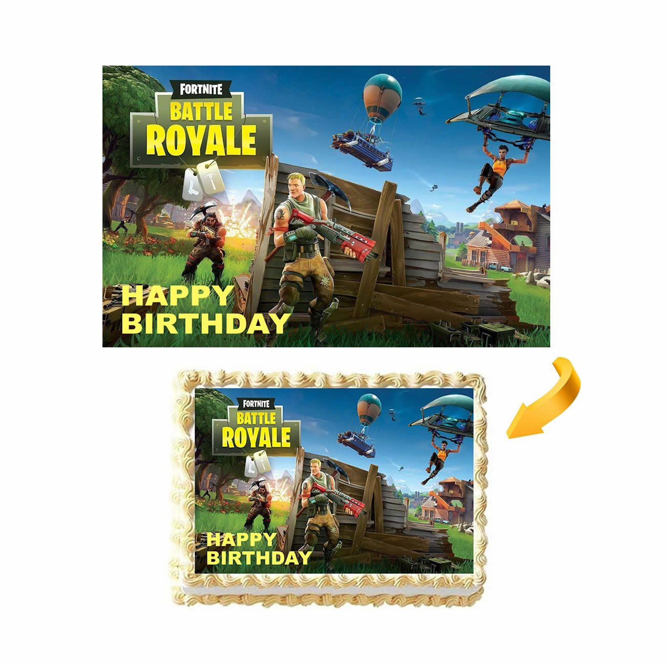 GEORLD Fortnite Battle Royale Birthday Cake Topper Edible Image,NO NAME Printed