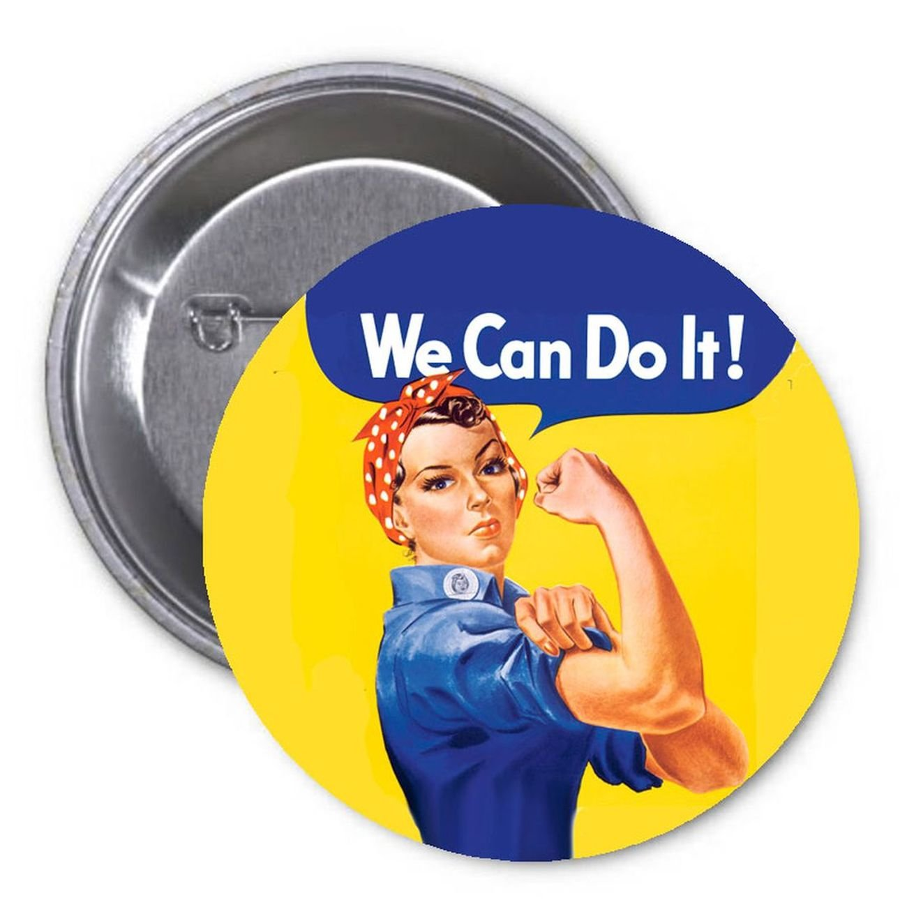 We can do it! Rosie the Riveter 2.25 Pinback Button Pin WWII Symbol