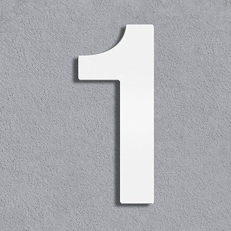 8 Thorwa/® Design Edelstahl Hausnummer inkl Montagematerial//H: 160 mm//RAL 9003 // Witterungsfest wei/ß weiss beschichtet