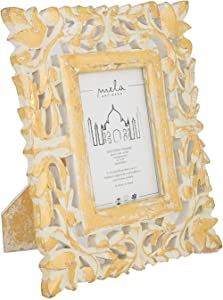 Mela Artisans 4x6 Picture Frame - Photo Frame Display or Tabletop Decor - Home, Office Decor Made of Solid Wood, Bone, Resin, Crystal Clear Glass - Wisteria in Gold Over White Picture Frame