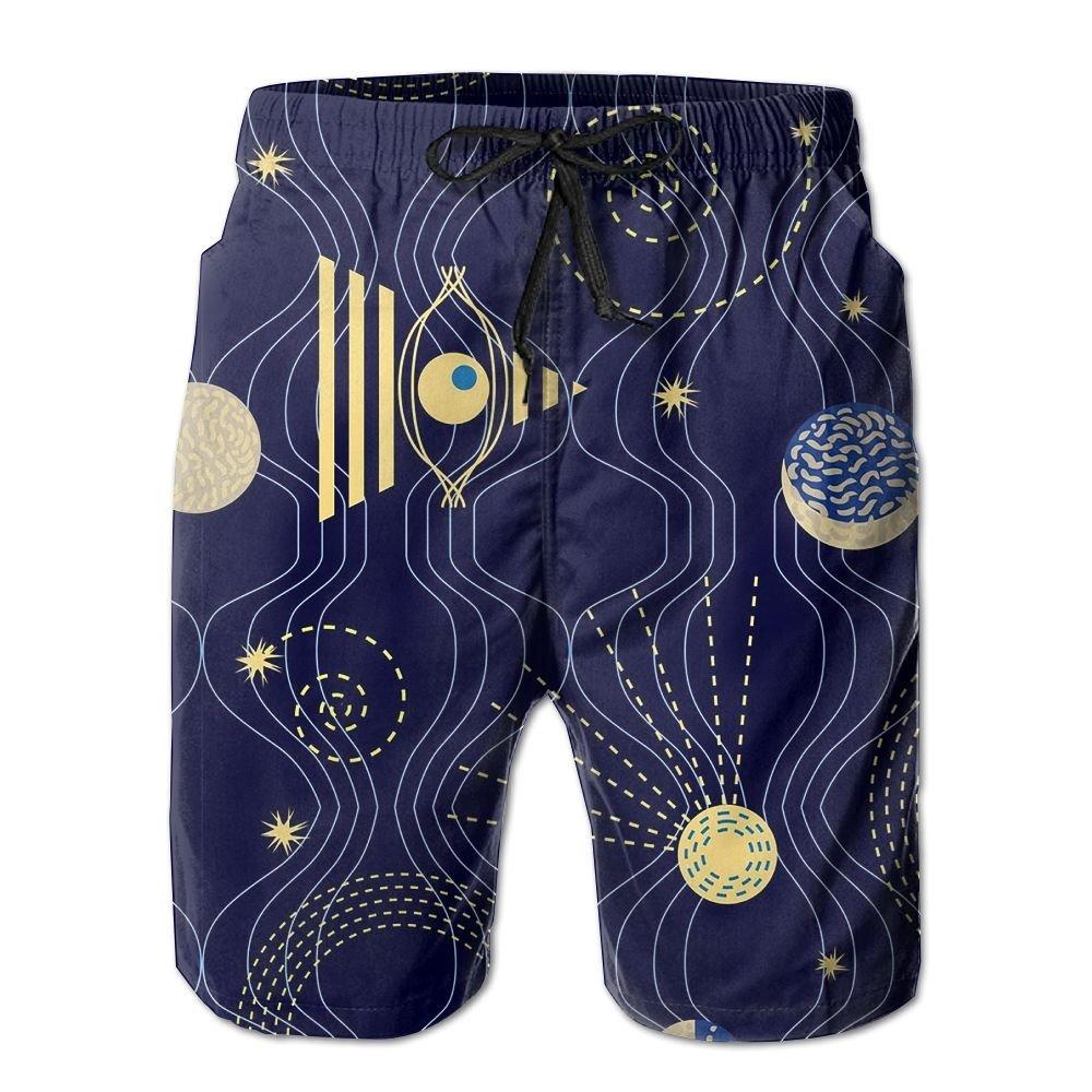 Mens Natural Space Pattern Shorts Elastic Waist Pockets Lightweight Beach Shorts Boardshort