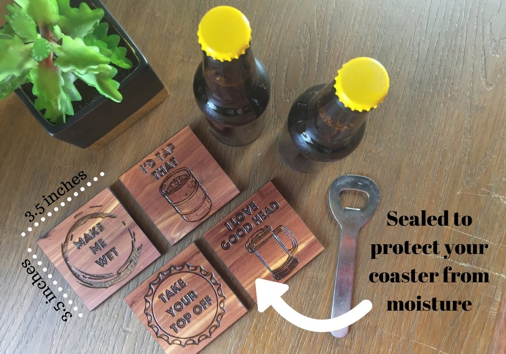 Coastal Crafted Beer Wooden Drink Coasters | Made in USA from Aromatic Cedar & Finished with Poly for easy cleaning | 3.5 Inch
