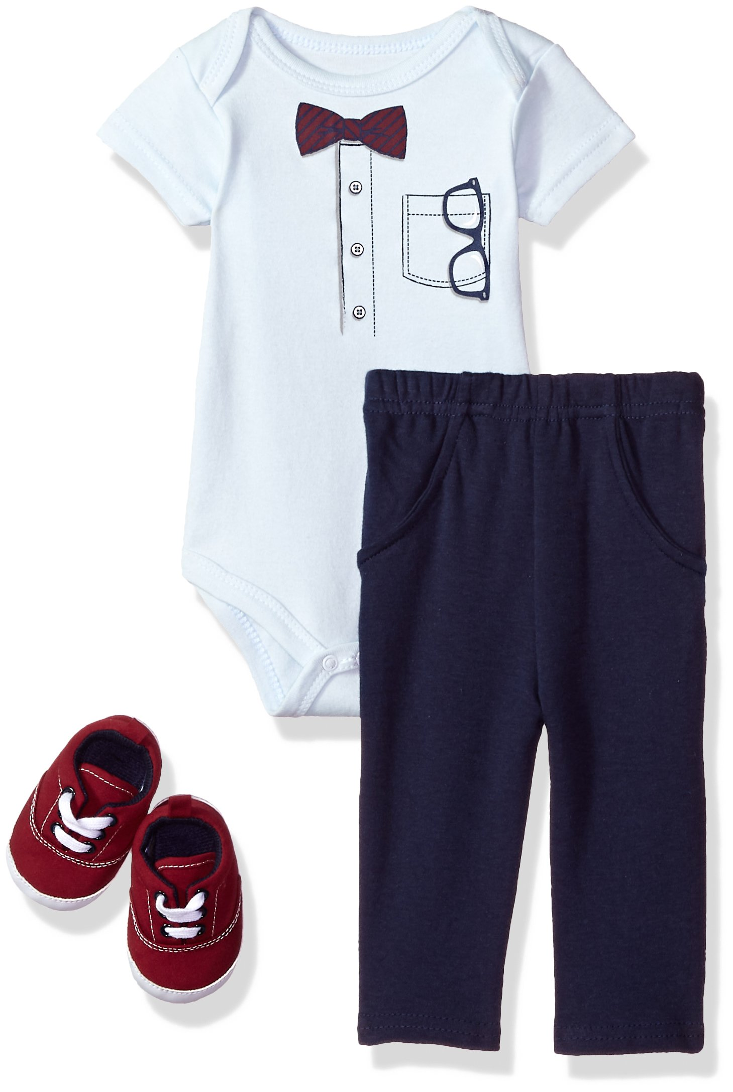 Little Treasure Baby Bodysuit, Pant and Shoe Set, Glasses, 6-9 Months by Little Treasure