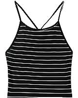 Gestreiftes Shirt Damen Sommer, Sunheit Blouse Striped Neckholder Crop Top