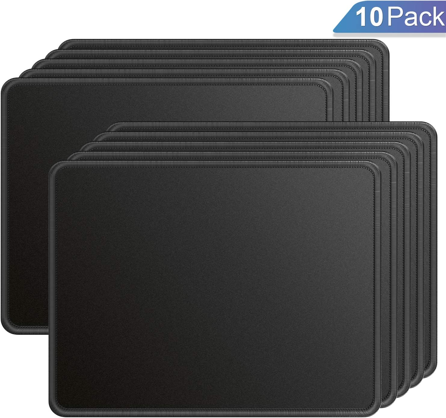 Ktrio 10 Pack Mouse Pad with Stitched Edges Mousepads Bulk with Lycra Cloth, Non-Slip Rubber Base, Waterproof Coating Mouse Pads for Computers, Laptop, Office & Home, 11x8.5in, 3mm, Black