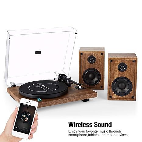 1 BY ONE Tocadiscos Inalambrico con Sistema Hi-Fi con Altavoces de 36 vatios, Reproductor de Discos de Vinilo con Cartucho magnético