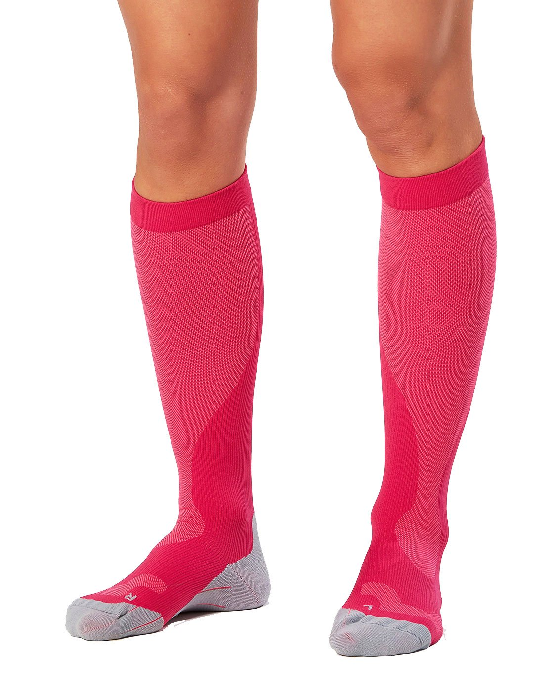 2XU Women's Performance Compression Run Sock, Hot Pink/Grey, X-Small by 2XU (Image #1)