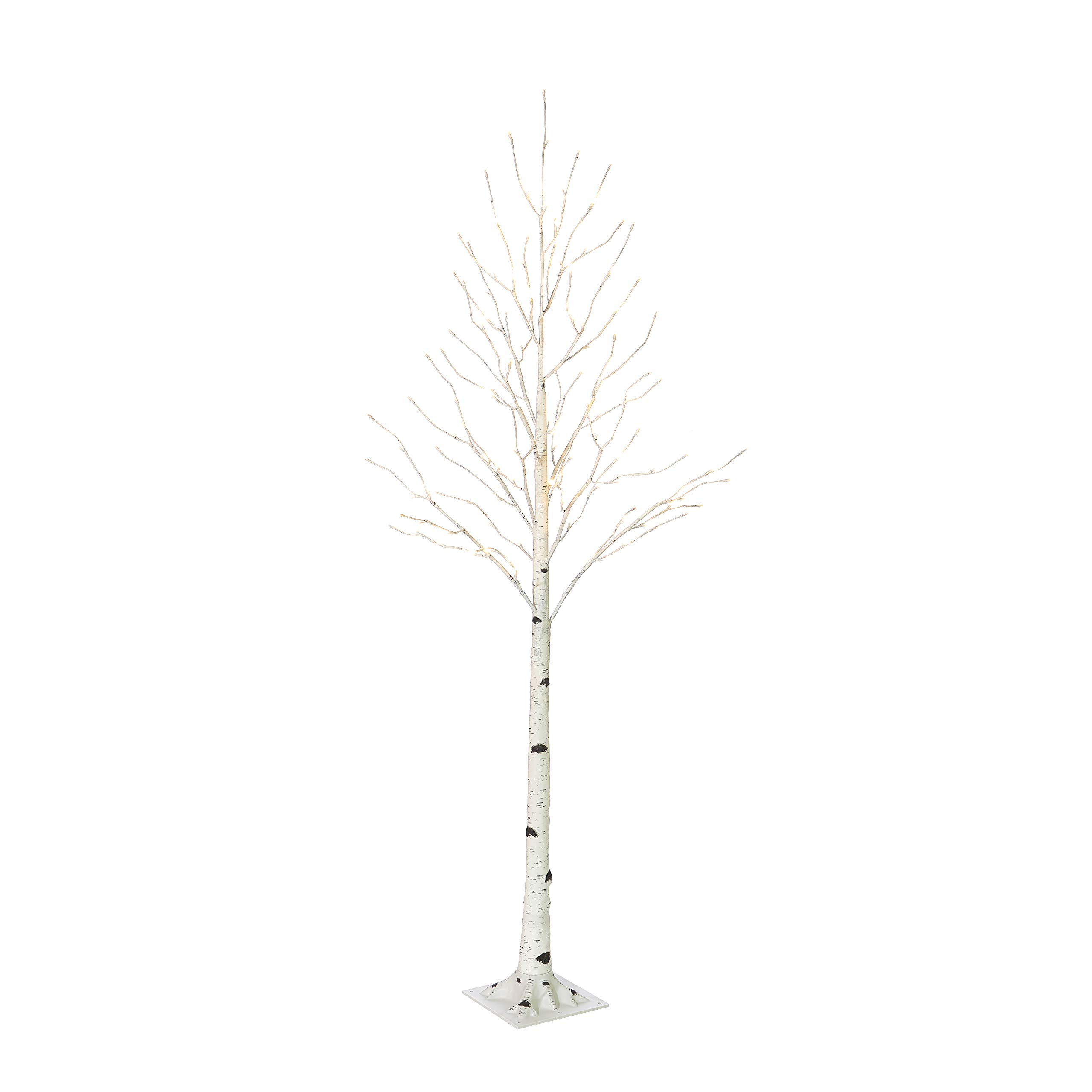 Hairui Pre Lit Birch Tree 4FT 72L for Home Decoration, White Christmas Tree with LED Lights Warm White, Lighted Artificial Tree with Partial Twinkling Feature Output 24V Safety Voltage