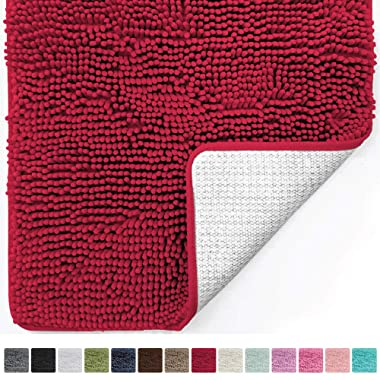 Gorilla Grip Original Luxury Chenille Bathroom Rug Mat (30 x 20), Extra Soft Absorbent Shaggy Rugs, Machine Wash/Dry, Perfect Plush Carpet Mats Tub, Shower Bath Room (Red)