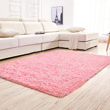 Amazoncom Yjgwl Soft Pink Shaggy Area Rugs For Girls Room Bedroom