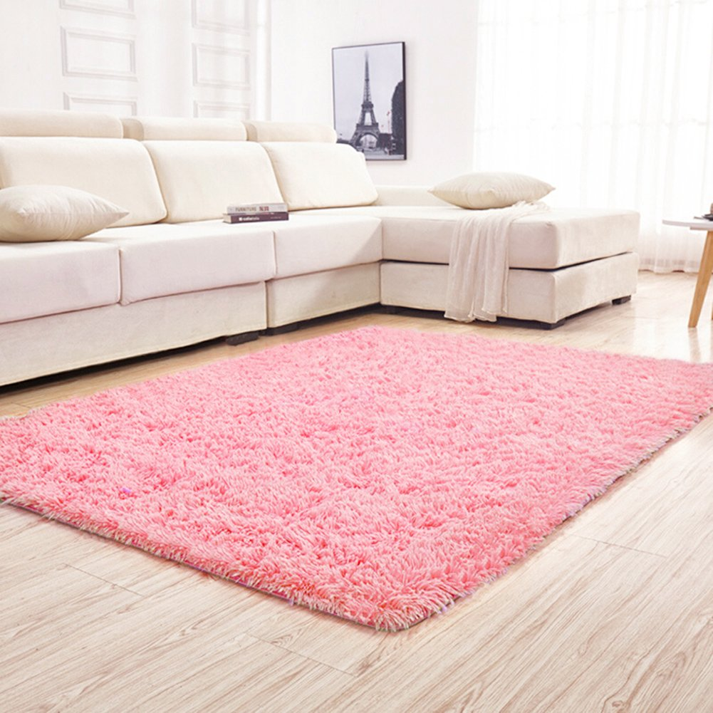 YJ.GWL Soft Pink Shaggy Area Rugs for Girls Room Bedroom Non-Slip Kids Carpet Baby Nursery Decor Fluffy Modern Rug 4 Feet x 5.3 Feet
