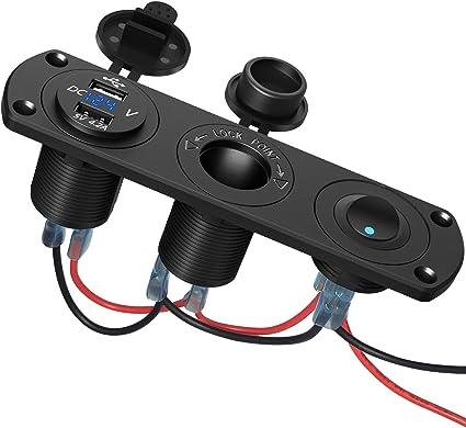 Dual USB Cars Lighter Socket Splitter Charger Power Adapter Outlet LED Black