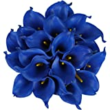 Luyue Calla Lily Bridal Wedding Bouquet Head Lataex Real Touch Flower Bouquets Pack of 20 (Royal blue)
