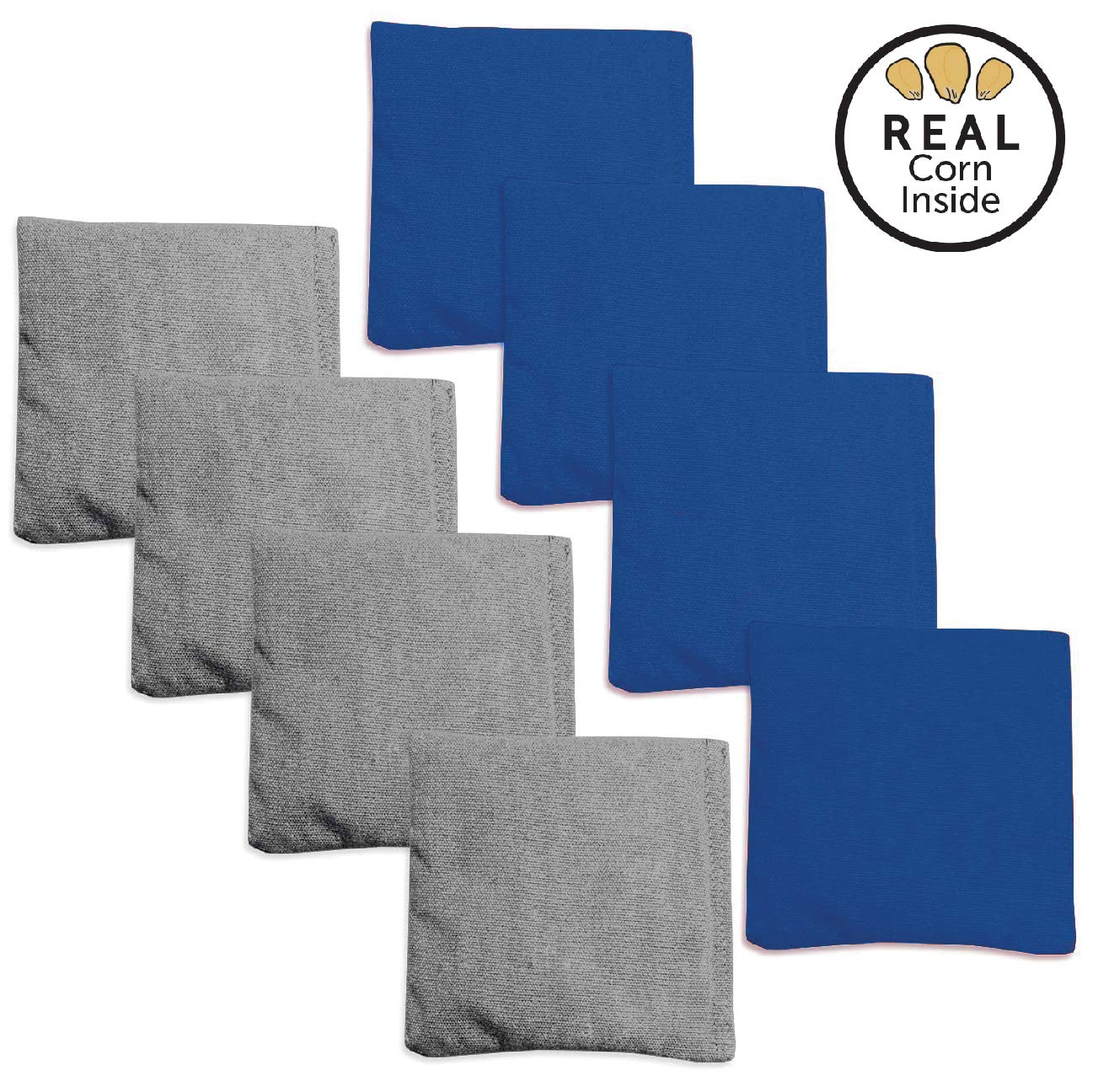Corn Filled Cornhole Bags - Set of 8 Bean Bags for Corn Hole Game - Regulation Size & Weight - Blue & Gray