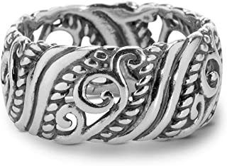 product image for Carolyn Pollack Sterling Silver Open Scroll Work Band Ring Size 5 to 10