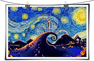 Jack and Sally Nightmare Before Christmas Vincent Van Gogh Starry Night Posters Home Canvas Wall Art Quotes Baby Gift Nursery Decor NO Framed 16x24 inch