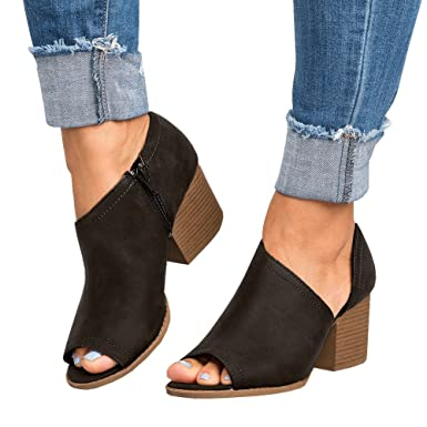 Peep Toe Cutout Ankle Booties For Women High Chunky Block Stacked Heel Boot