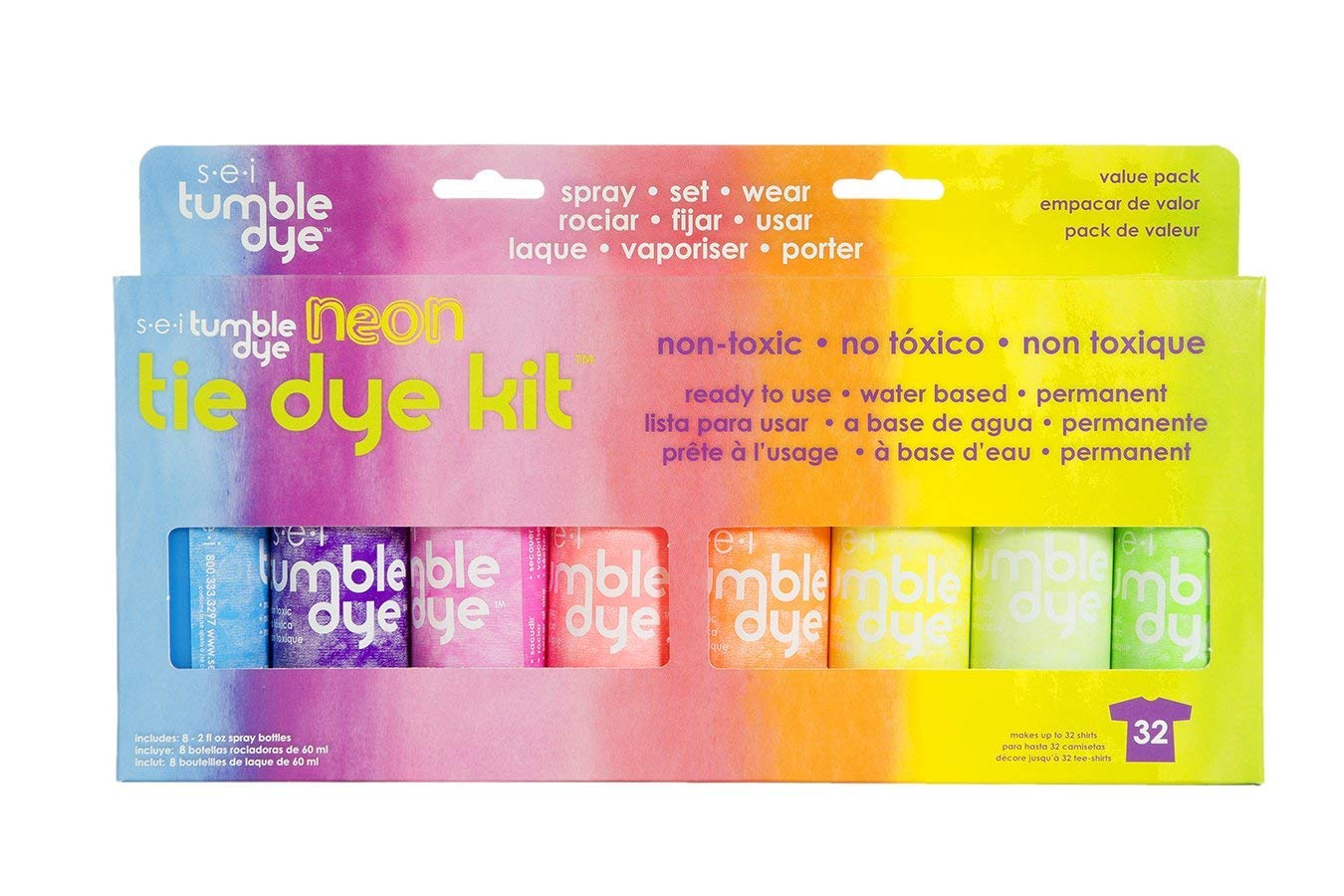 SEI Tumble Dye Craft And Fabric Spray 2oz 8/Pkg-Neon Assorted Colors 6-2005