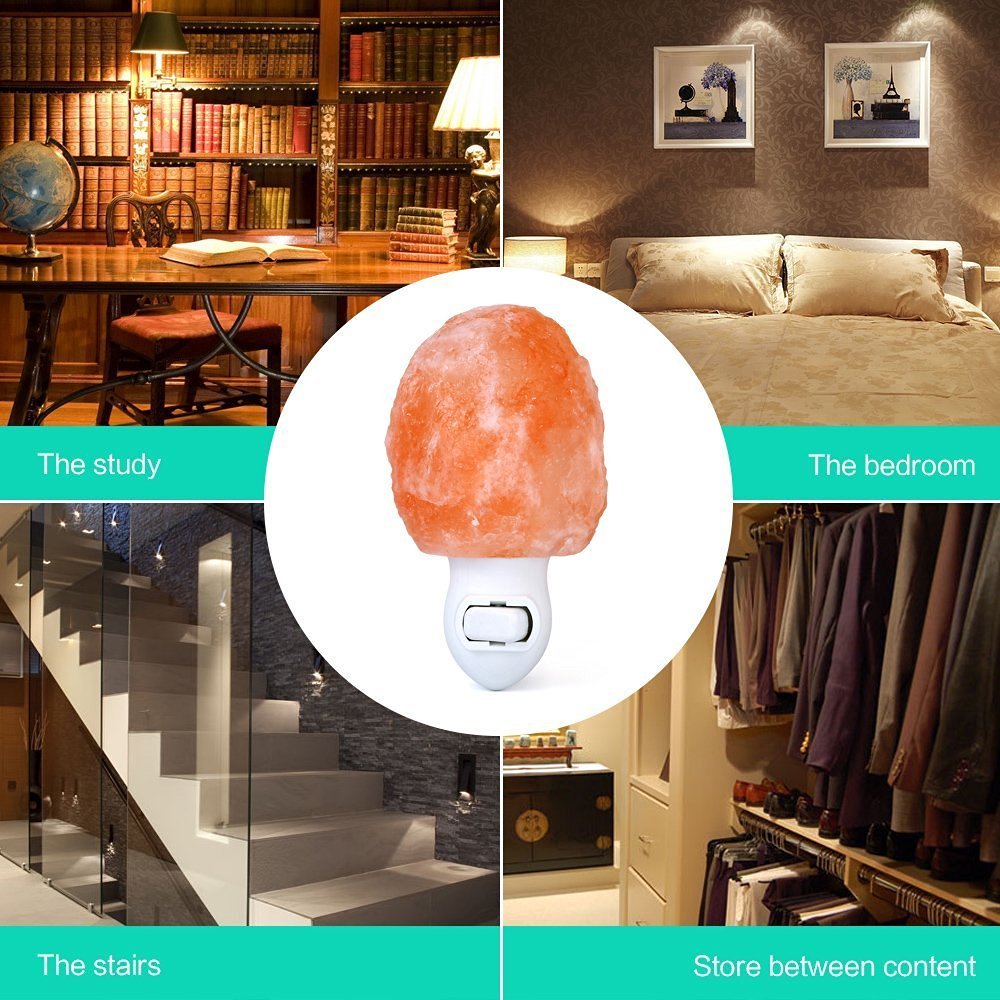 (Pack of 2) Zoostliss Mini Hand Carved Natural Original Crystal Himalayan Salt Lamp Night Light with Additional Bulb for Backup by Zoostliss (Image #3)