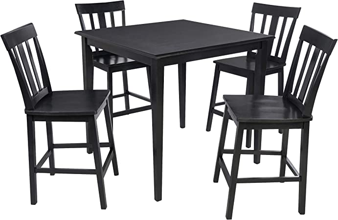 Amazon Com Mainstays 5 Piece Counter Height Dining Set Warm In Black Table Chair Sets