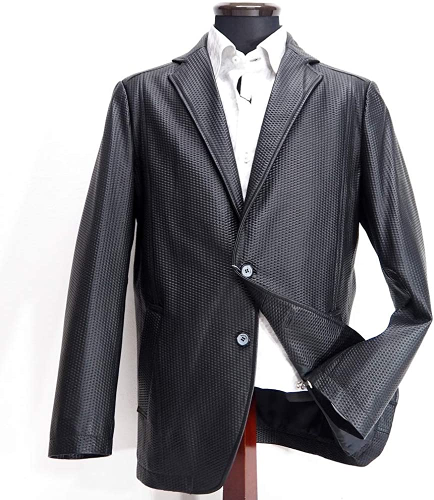 60278 barassi MILANO バラシ ミラノ 羊革 2つボタン カジュアルジャケット ブラック 50(LL) サイズ メンズ カジュアル 男性 秋冬 ゴルフ 通販