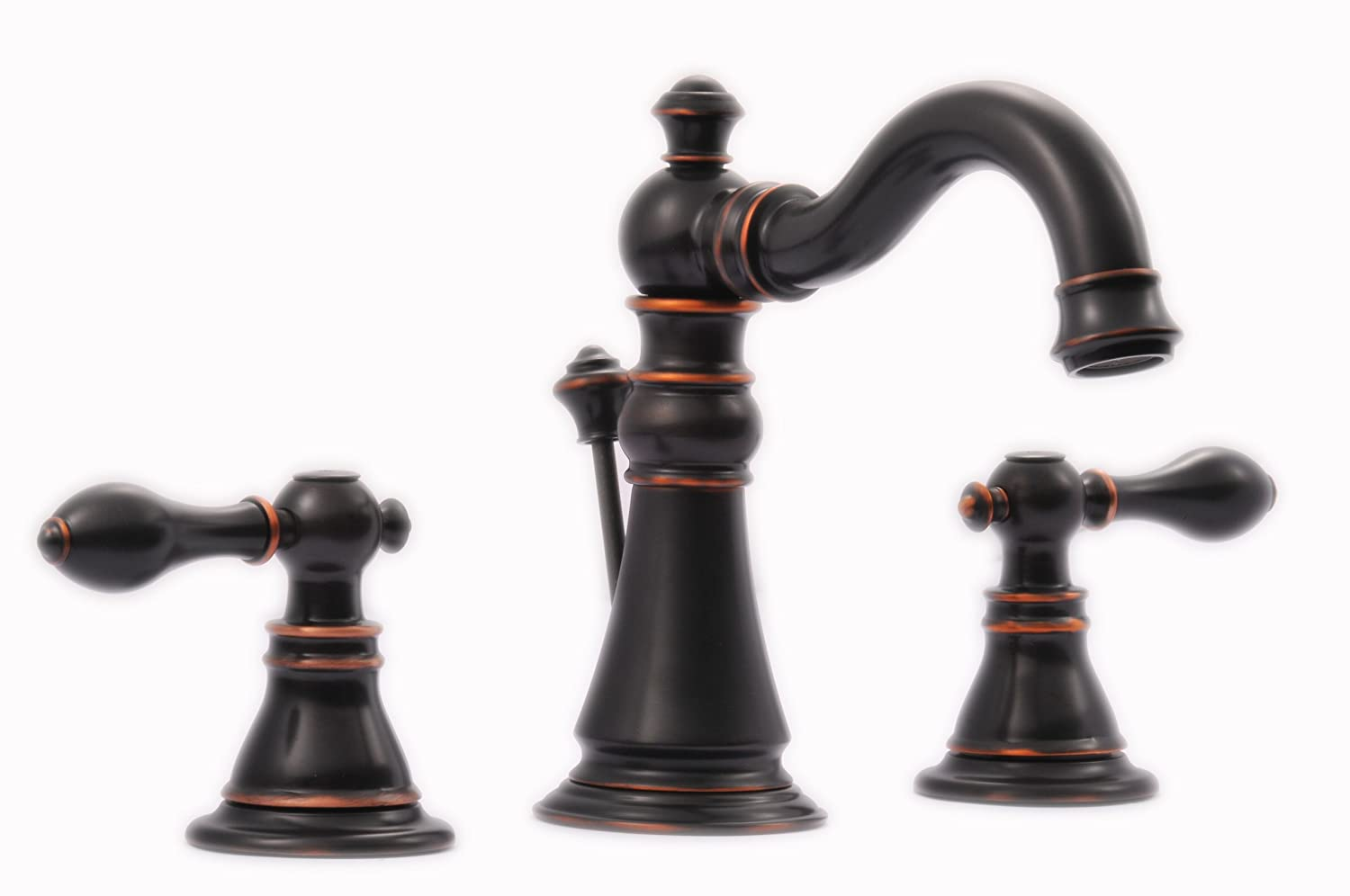 Oil Rubbed Bronze Victorian Style Widespread Bathroom Sink Faucet ...