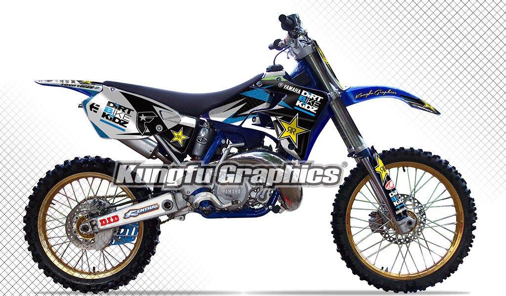 Kungfu Graphics Rockstar Custom Decal Kit for Yamaha YZ125 YZ250 YZ 125 YZ 250 1996 1997 1998 1999 2000 2001, Black White