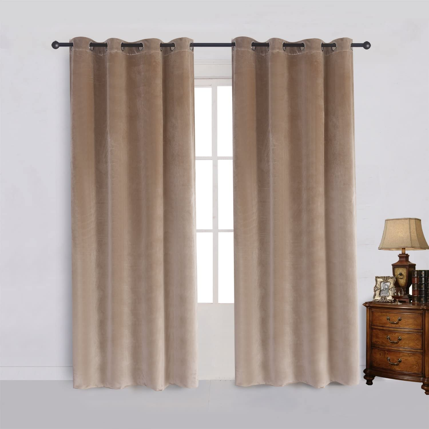 Cherry Home Super Soft Luxury Velvet Curtains Set of 2 Sand Color Room Darkening Blackout Drapes Drapery Cream 52 Inch Wide by 84 Inch Length with Grommet Sand(2 Panels) with Tiebacks