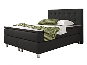 Bedombouw 140 Bij 200.Inter Cologne Divan Bed 140 X 200 Cm Textile Black Amazon Co Uk