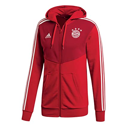56beec478df87 Amazon.com : adidas 2018-2019 Bayern Munich 3S Hooded Zip (Red ...